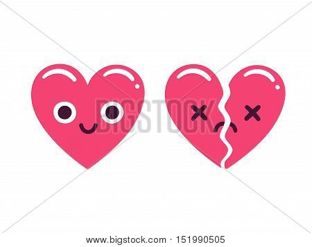 Cute cartoon emoticon hearts happy and smiling and sad and broken. Modern flat style vector heart illustration.
