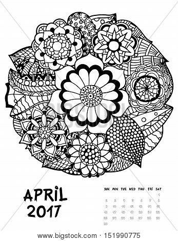 April 2017 calendar Zendoodle style, start on sunday, FSet of abstract flowers. Patterned zentangle, black and white. For Print anti-stress coloring books for different ages people