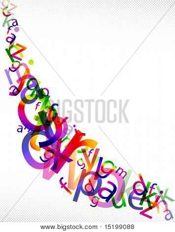 Rainbow letter background composition