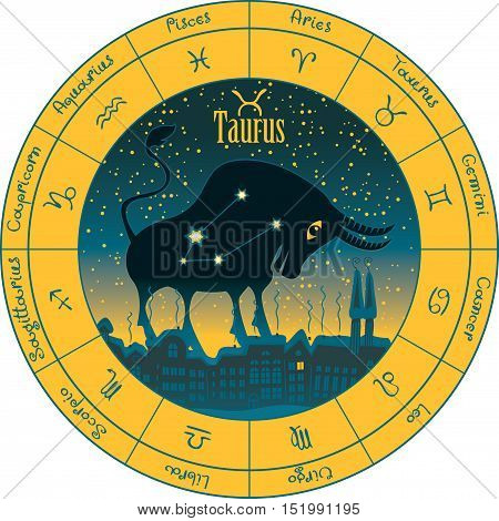 taurus on the background urban night landscape and the starry sky in circle with the signs of the zodiac