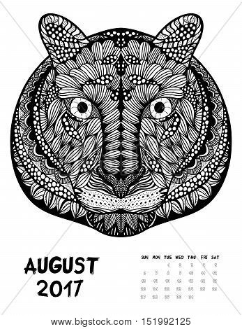 April 2017 calendar Zendoodle style, start on sunday, Funny tiger. Patterned zentangle, black and white. For Print anti-stress coloring books for different ages peoples. set #1
