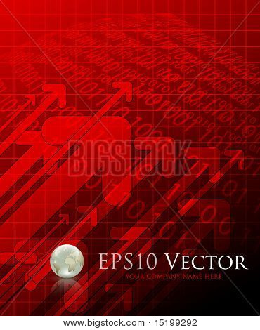 Red abstract business background - vector illustration