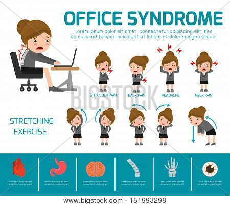 Office syndrome. health care concept. infographic element. vector flat icons woman cartoon design.
