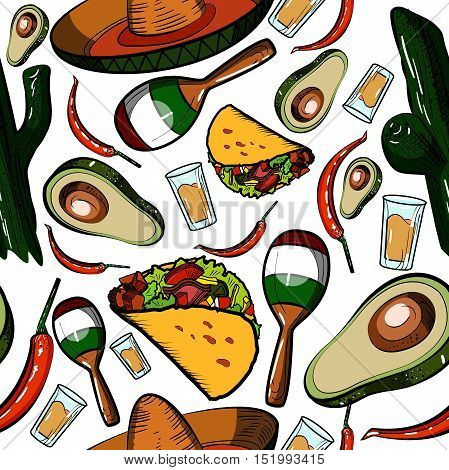 Hand drawn doodle Mexico pattern. Vector illustration. Sketchy mexican food icons. United Mexican States elements- Maracas, Sombrero, Viva Mexico, Aztec, Tequila and other