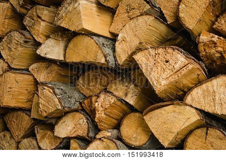 abundance of firewood for the winter for the furnace