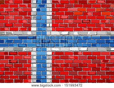 Flag of Norway on a brick wall - Illustration,  Norwegian flag painted on brick wall, Flag of Norway in brick style,  Abstract grunge mosaic vector