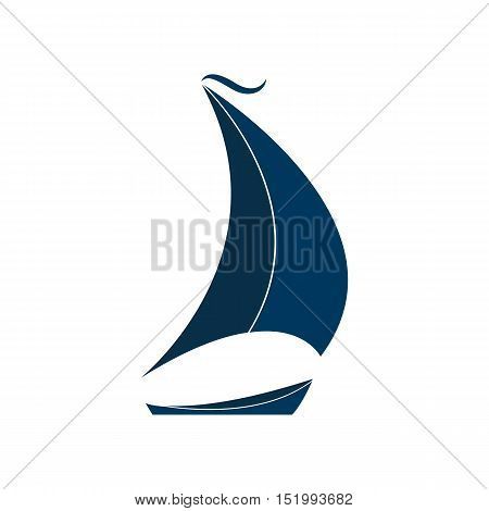The ship with sails vector illustration. Logo for Yacht Club.