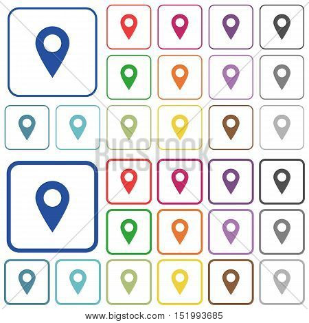 Set of location pin flat rounded square framed color icons on white background. Thin and thick versions included.