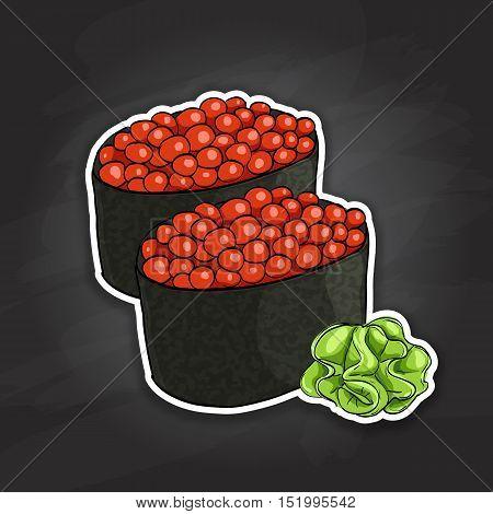 Vector sushi color sticker, Gunkan Ikura. Vector illustration, EPS 10