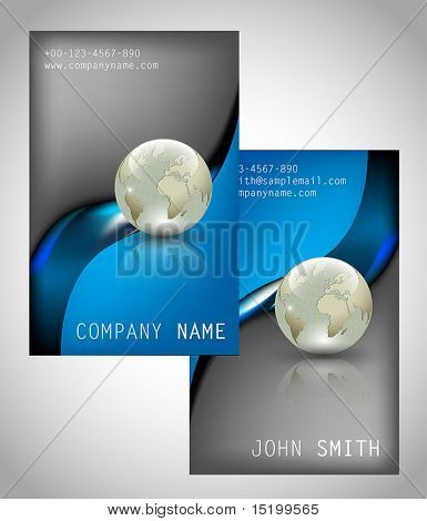 Set of two vertical business cards - vector illustration