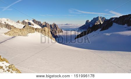 View Of The Vallee Blanche, Towards Chamonix On The French Side.