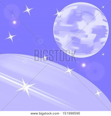 The moon and the earth from space. Abstract card with stars and planets and satellites.