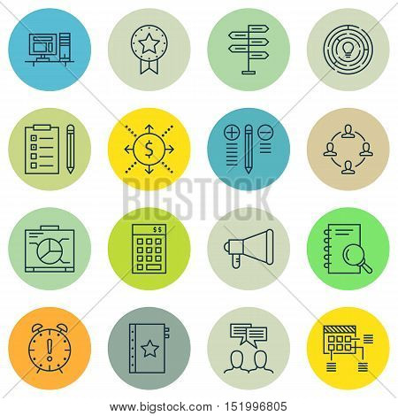 Set Of Project Management Icons On Computer, Discussion, Time Management And Other Topics. Editable