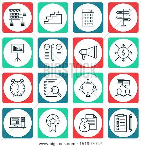 Set Of Project Management Icons On Reminder, Decision Making, Announcement And Other Topics. Editabl