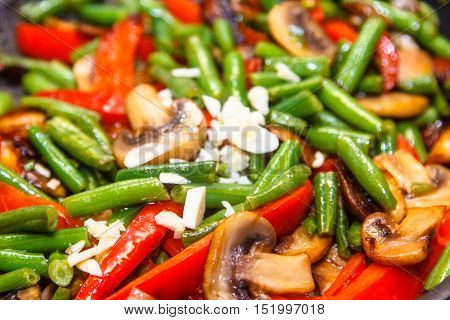 Green Beans, Mushrooms And Red Pepper Fried In The Pan. Can Be U