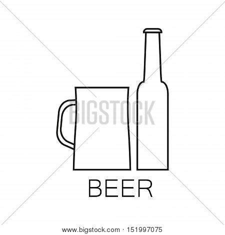 Alcoholic beverages line icon. The linear image of a bottle and glass of beverage