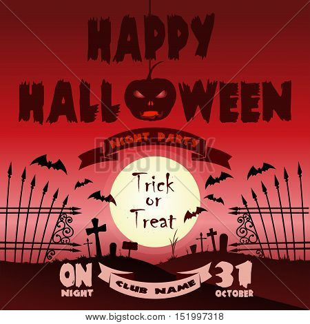 Happy Halloween design. Full moon over the cemetery. Halloween red poster template. Vector illustration