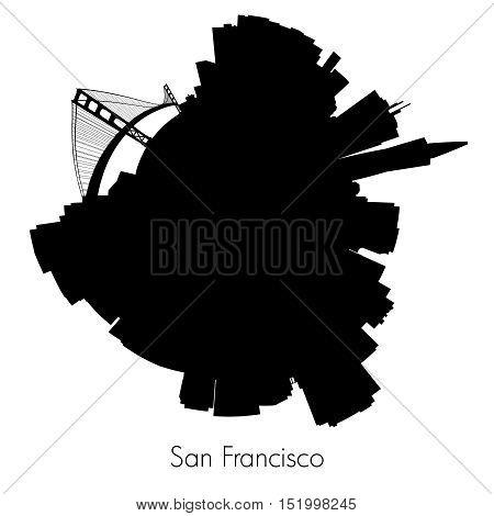 San Francisco Planet circular skyline silhouette. Vector illustration