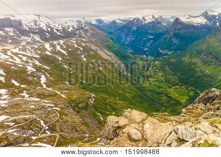 View On Geirangerfjord From Dalsnibba Viewpoint In Norway