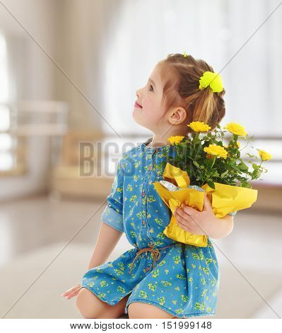 Pensive little girl in a short summer robe, holding a bouquet of yellow flowers.On the background of the hall with a large arched window , the concept of learning and child development.