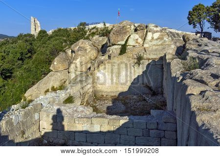 Panoramic view and Tower in The ancient Thracian city of Perperikon, Kardzhali Region, Bulgaria