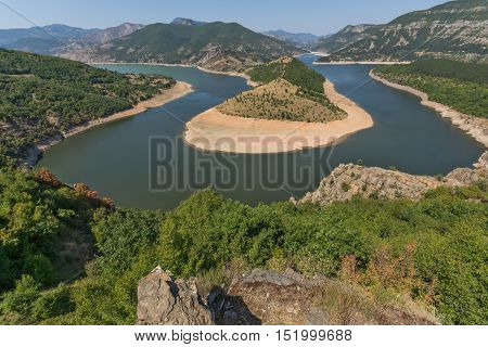 Amazing view of Arda River meander and Kardzhali Reservoir, Bulgaria