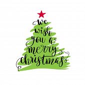 We wish you a merry christmas. Christmas poster or greeting card design. Calligraphy lettering quote poster