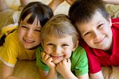 picture of happy kids  - happy sister with brothers having fun at home - JPG