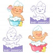 Постер, плакат: Vector Illustration And Logo For Baby Soap And Shampoo