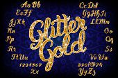 Handwritten Glitter Gold alphabet font. Hand drawn calligraphy brush script letters. Stock vector le poster