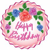 picture of birthday-cake  - vector birthday cake with roses on white background - JPG