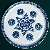 Vintage Passover Seder Plate On Dark Background.