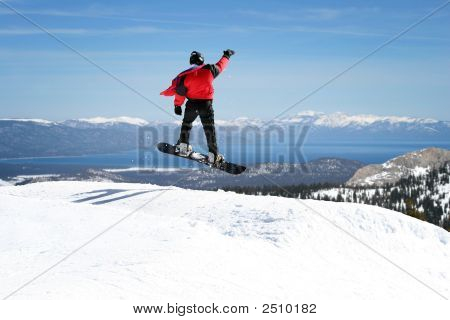 Snowboarder Enjoying A View