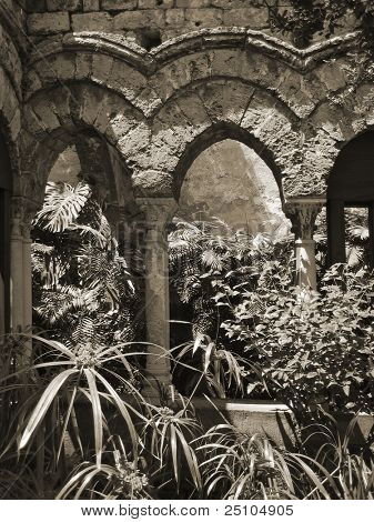 moorish influenced cloister at Palermo, Sicily