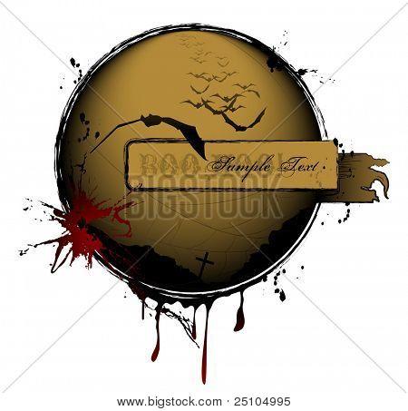 Grungy halloweenish... ding... met copyspace/banner en vliegende vleermuizen