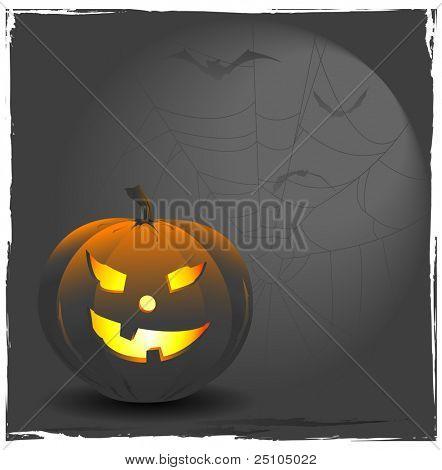 Halloween-achtergrond met Jack o ' lantern, spiderweb en vleermuizen
