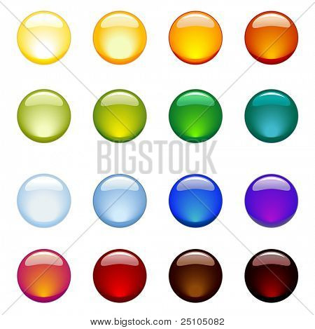 set of glossy rainbow-colored web-buttons
