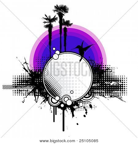 grungy tropical sunset with palm trees, hummingbird and abstract graphic elements