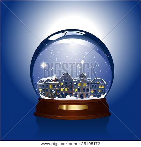 snowglobe with a small town inside