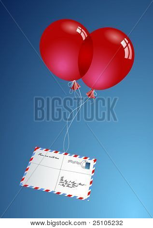 two red balloons delivering a love-letter via
