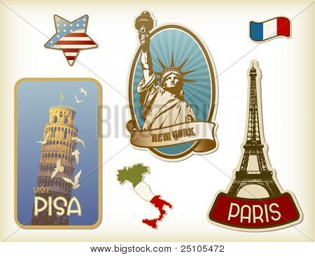 collection of detailed vintage suitcase-stickers