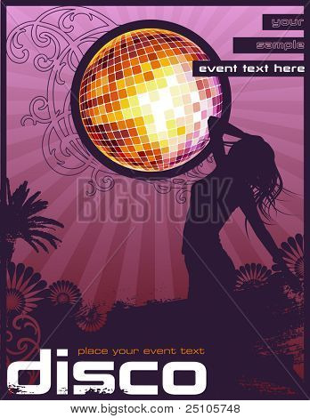 retro event flyer/poster design with dancing girl and glittering disco ball