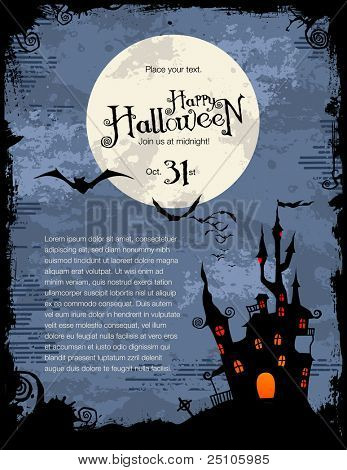 grungy Halloween background with haunted house, bats and full moon