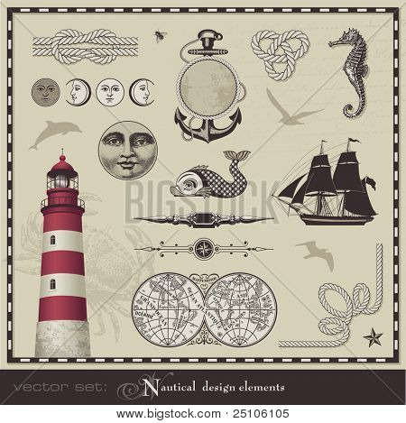 Vector Set: nautische Designelemente - set retro maritimen Illustrationen