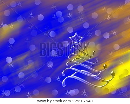 Christmas tree with lights dimmed background