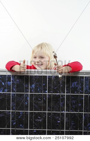 girl with solar panel