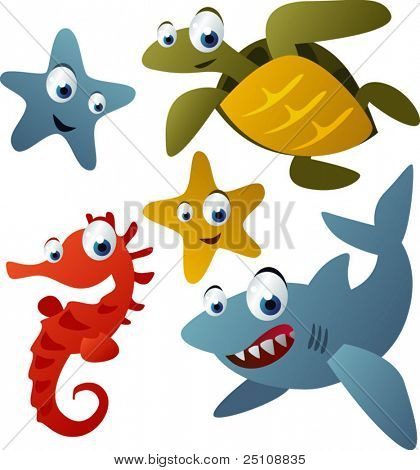 vector animals set 9: starfish, turtle, shark and sea horse