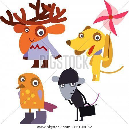 vector animal set 16: elk, dog, bird, mouse