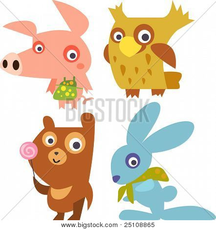 vector animals set 15: piglet, owl, bear, rabbit