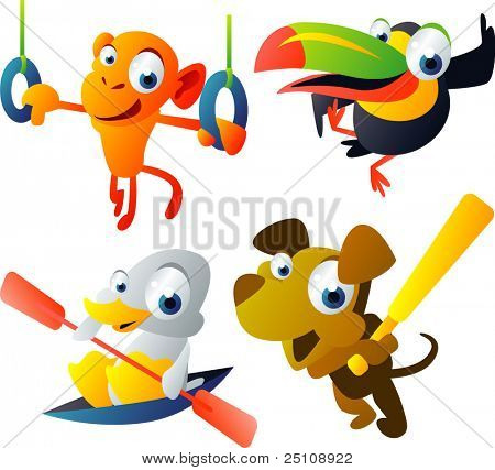 Vector Animal Set 46: Monkey, Toucan, Duck, Dog
